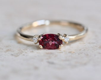 14K East West Garnet Diamond Ring