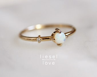 "14K Gold Opal Diamond ""Sidekick"" Ring"