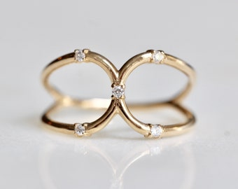 14K Double Loop Ring