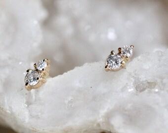14k Gold Two Diamond Stud, Second Hole Stud, Tiny Post Earring, Mutiple Piercing Stud
