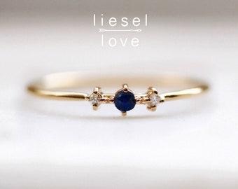 """14K Gold Sapphire Diamond """"Blue Velvet"""" Ring"""
