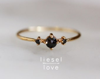 "14K Gold Black Diamond ""Black Swan"" Ring"