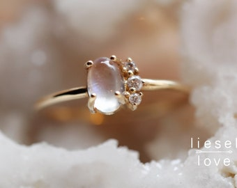 "14K Moonstone & Diamond ""Lace"" Ring"
