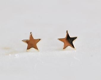 14K Gold Star, Gold Studs, Tiny Studs, Star Earrings, Gold Earrings, Tiny Earrings, Real Gold, Every Day Wear