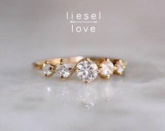 14K Gold Diamond Row Ring