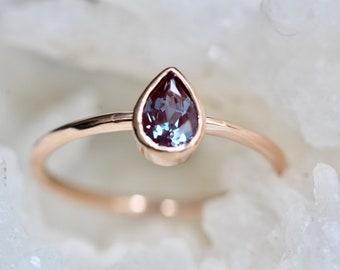 14K Pear Alexandrite Bezel Ring