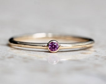 14K Gold Tiny Pink Sapphire Ring, Pink Stone Ring, Dainty Ring, Dainty Jewelry, Stacking Ring, September Birthstone, Bezel Set