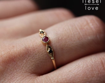 "14K Gold Ruby Black Diamond ""Enchantress"" Ring"