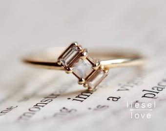 """14K Gold Moonstone Diamond Baguette """"Tilt"""" Ring"""