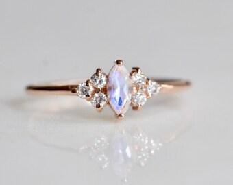 """14K Gold Moonstone Diamond """"Cherish"""" Ring"""