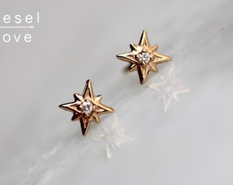 "14K Gold Diamond ""North Star"" Studs"