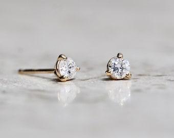 14K Gold Diamond Studs, Diamond Earrings, Diamond Studs, Everyday Wear, Dainty Studs, Minimal Earrings, Dainty Jewelry, Solid Gold