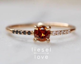 """14K Gold Black White Red Diamond """"Honey"""" Ring"""