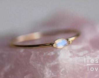 """14K Marquise Moonstone """"Wink"""" Ring"""