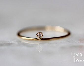 14K Gold Floating Diamond Ring