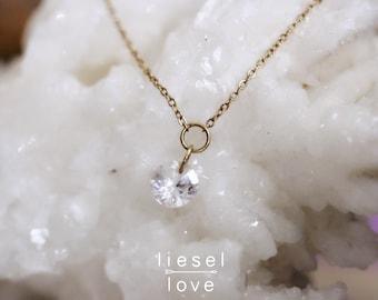 "14K Gold White Topaz ""Falling Star"" Necklace"