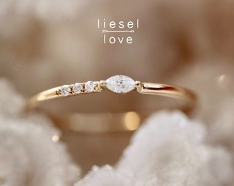 14K Gold Asymmetrical Marquise Diamond Ring