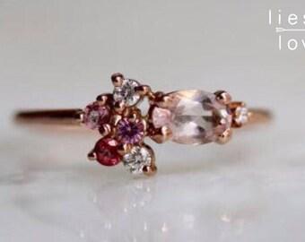 "14K Gold Morganite ""Pretty in Pink"" Cluster Ring"