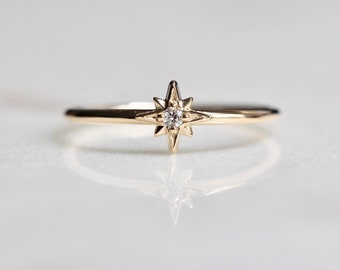 "14K Gold Diamond ""North Star"" Ring"