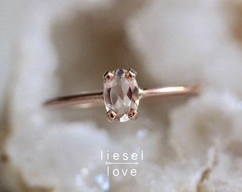 "14K Gold Oval Morganite ""Make Me Blush"" Ring"
