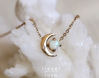 "14K Gold Opal & Diamond ""Moon of My Life"" Necklace"