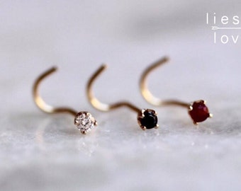 14K Gold Gemstone Nose Studs