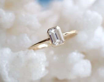 14K Gold Octagon Moissanite Ring, Emerald Cut Bezel, Moissanite Engagement Ring, Solitaire Ring, Diamond Substitute, Step Cut stone