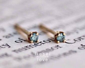 14K Gold Tiny Blue Diamond Studs