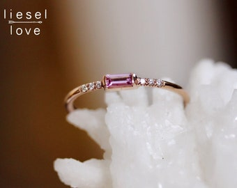 "14K Gold Pink Sapphire Baguette & Pavé Diamond ""Rock Candy"" Ring"