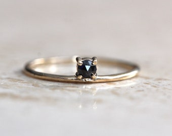 14K Gold Black Diamond Ring, Floating Stone, Rose Cut Diamond Ring, Solid Gold, Stacking Ring, Black Diamond Engagement Ring, Minimal