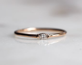 """14K Gold Marquise Diamond Ring, """"Wink"""" Ring, Stacking Ring, Midi Ring, Promise Ring, Engagement Ring, April Birthstone"""