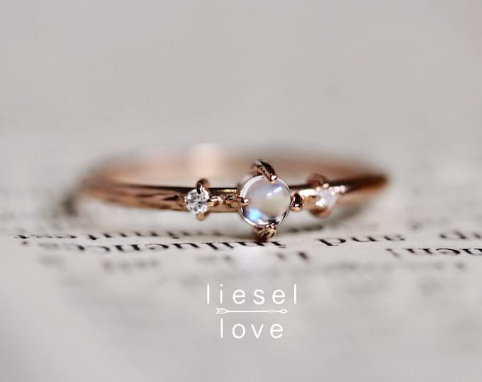 """Featured listing image: 14K Gold Moonstone & Diamond """"Moonlight Drive"""" Ring"""