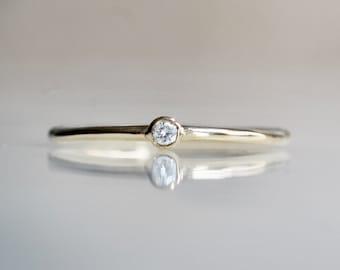 14K Gold Tiny Diamond Ring, Diamond Ring, Dainty Ring, Small Diamond Ring, Stacking Ring, April Birthstone, Bezel Set Diamond Ring,