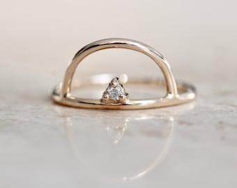 "14K Gold Diamond ""Horizon"" Ring"