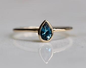 14K London Blue Topaz Pear Bezel Ring
