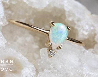 "14K Gold Pear Opal Diamond ""Unicorn Tears"" Ring"