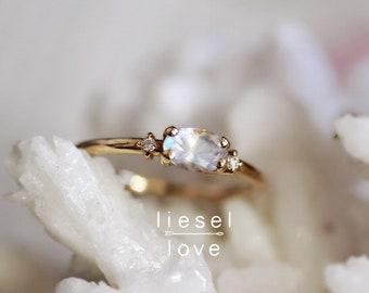 "14K Gold ""Mirror, Mirror"" Moonstone Ring, Moonstone, East West, Diamond, Snow White, Rainbow, Dainty Jewelry, Fashion Ring, Boho, Crystal"