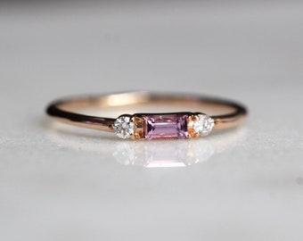 14K Pink Sapphire Baguette Ring, Three Stone Ring, Stacking Ring, Rectangle Stone, Sapphire Diamond Ring, Pink Stone Ring, September