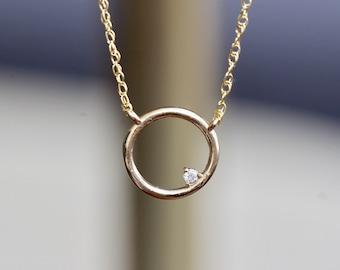 14K Open Circle Diamond Necklace, Round pendant Necklace, Layering Necklace, April Birthstone, Asymmetrical Necklace