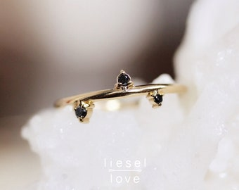 "14K Gold Black Diamond ""Constellation"" Ring"