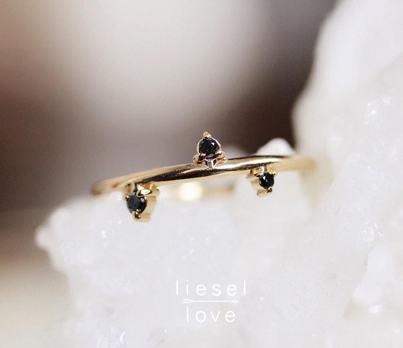 14K Gold Black Diamond Ring Constellation Ring image 0