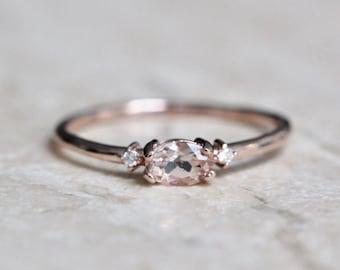 "14K Gold Morganite & Diamond ""Pink Champagne"" Ring"