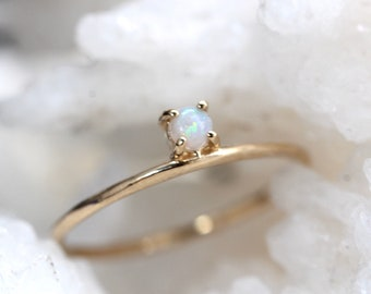 14K Gold Opal Ring, Iridescent Stone, Floating Stone, White Stone Ring, Solid Gold, Australian Opal Stone, Stacking Ring, October Birthstone