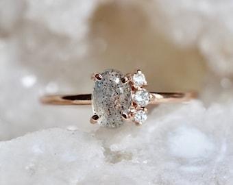 """14K Gold Labradorite Diamond Ring, """"Lace"""" Ring, Labradorite Ring, Cluster Ring, Asymmetrical Ring, Grey Stone, Color Changing"""