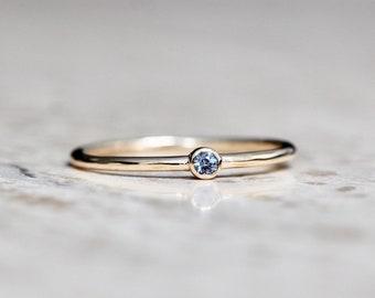 14K Gold Tiny Alexandrite Ring, Green Stone Ring, Purple Stone Ring, Dainty Jewelry, Stacking Ring, June Birthstone, Bezel Setting