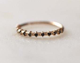 14K Gold Black Diamond Half Eternity Band, Diamond Ring, Wedding Ring, Engagement Ring, Dainty Jewelry, Anniversary Band, Dainty Ring