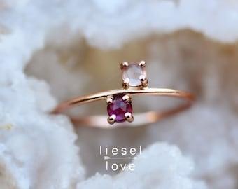 """14K Gold Garnet Rose Quartz """"Rosie"""" Ring"""