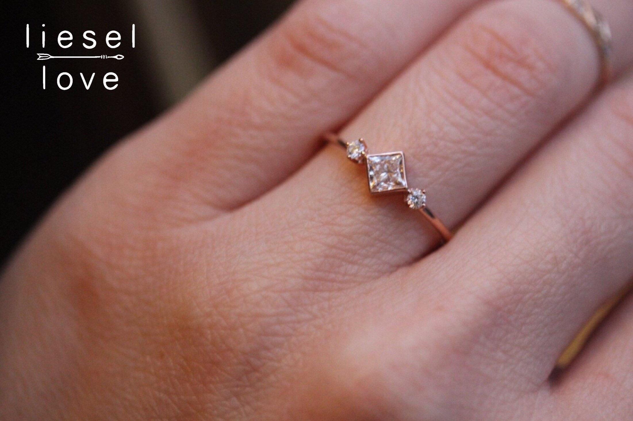 14K Gold Princess Cut Diamond Ring Large Deco | Etsy