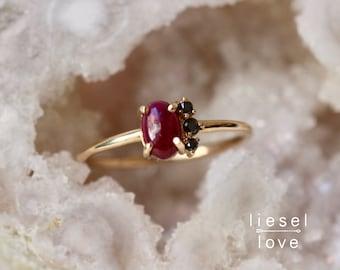 "14K Gold Ruby Black Diamond ""Lace"" Ring"
