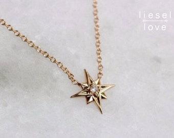 "14K Gold Diamond ""North Star"" Necklace"